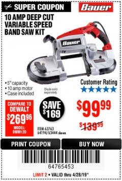 Harbor Freight Coupon BAUER 10 AMP DEEP CUT VARIABLE SPEED BAND SAW KIT Lot No. 63763/64194/63444 Expired: 4/28/19 - $99.99