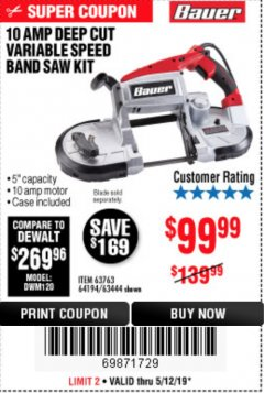 Harbor Freight Coupon BAUER 10 AMP DEEP CUT VARIABLE SPEED BAND SAW KIT Lot No. 63763/64194/63444 Expired: 5/12/19 - $99.99