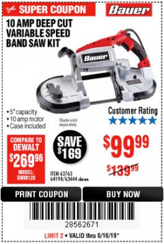 Harbor Freight Coupon BAUER 10 AMP DEEP CUT VARIABLE SPEED BAND SAW KIT Lot No. 63763/64194/63444 Expired: 6/16/19 - $0