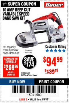 Harbor Freight Coupon BAUER 10 AMP DEEP CUT VARIABLE SPEED BAND SAW KIT Lot No. 63763/64194/63444 Expired: 8/4/19 - $94.99