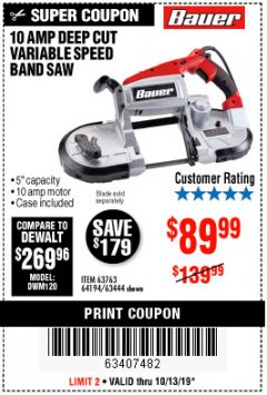 Harbor Freight Coupon BAUER 10 AMP DEEP CUT VARIABLE SPEED BAND SAW KIT Lot No. 63763/64194/63444 Expired: 10/13/19 - $89.99