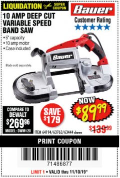 Harbor Freight Coupon BAUER 10 AMP DEEP CUT VARIABLE SPEED BAND SAW KIT Lot No. 63763/64194/63444 Expired: 11/10/19 - $89.99