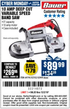 Harbor Freight Coupon BAUER 10 AMP DEEP CUT VARIABLE SPEED BAND SAW KIT Lot No. 63763/64194/63444 Expired: 12/1/19 - $89.99
