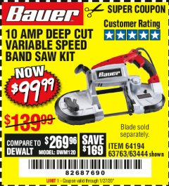 Harbor Freight Coupon BAUER 10 AMP DEEP CUT VARIABLE SPEED BAND SAW KIT Lot No. 63763/64194/63444 Expired: 1/27/20 - $99.99