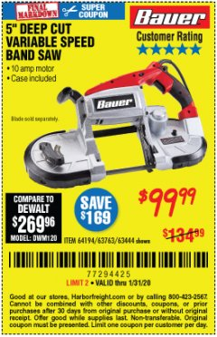 Harbor Freight Coupon BAUER 10 AMP DEEP CUT VARIABLE SPEED BAND SAW KIT Lot No. 63763/64194/63444 Expired: 1/31/20 - $99.99