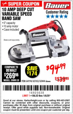 Harbor Freight Coupon BAUER 10 AMP DEEP CUT VARIABLE SPEED BAND SAW KIT Lot No. 63763/64194/63444 Expired: 1/6/20 - $94.99