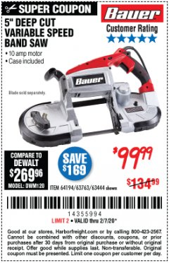 Harbor Freight Coupon BAUER 10 AMP DEEP CUT VARIABLE SPEED BAND SAW KIT Lot No. 63763/64194/63444 Expired: 2/7/20 - $99.99