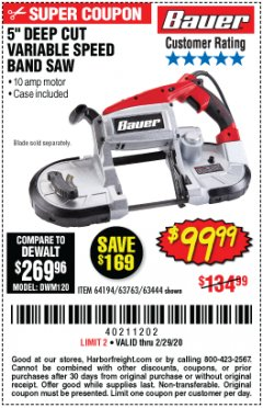 Harbor Freight Coupon BAUER 10 AMP DEEP CUT VARIABLE SPEED BAND SAW KIT Lot No. 63763/64194/63444 Expired: 2/29/20 - $99.99