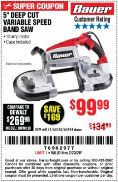 Harbor Freight Coupon BAUER 10 AMP DEEP CUT VARIABLE SPEED BAND SAW KIT Lot No. 63763/64194/63444 Expired: 2/23/20 - $99.99