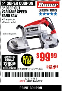 Harbor Freight Coupon BAUER 10 AMP DEEP CUT VARIABLE SPEED BAND SAW KIT Lot No. 63763/64194/63444 Expired: 3/8/20 - $99.99