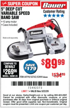 Harbor Freight Coupon BAUER 10 AMP DEEP CUT VARIABLE SPEED BAND SAW KIT Lot No. 63763/64194/63444 Expired: 3/22/20 - $89.99