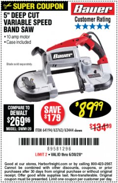 Harbor Freight Coupon BAUER 10 AMP DEEP CUT VARIABLE SPEED BAND SAW KIT Lot No. 63763/64194/63444 Valid: 4/10/20 - 6/30/20 - $89.99