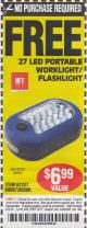 Harbor Freight FREE Coupon 27 LED PORTABLE WORKLIGHT/FLASHLIGHT Lot No. 67227/69567/60566/62532 Expired: 4/4/15 - NPR