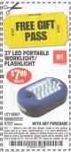 Harbor Freight FREE Coupon 27 LED PORTABLE WORKLIGHT/FLASHLIGHT Lot No. 67227/69567/60566/62532 Expired: 6/21/15 - FWP