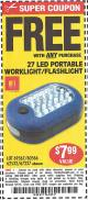 Harbor Freight FREE Coupon LED PORTABLE WORKLIGHT/FLASHLIGHT Lot No. 63878/63991/64005/69567/60566/63601/67227 Expired: 9/7/15 - FWP