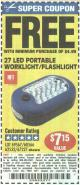 Harbor Freight FREE Coupon LED PORTABLE WORKLIGHT/FLASHLIGHT Lot No. 63878/63991/64005/69567/60566/63601/67227 Expired: 1/24/16 - FWP