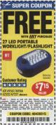 Harbor Freight FREE Coupon 27 LED PORTABLE WORKLIGHT/FLASHLIGHT Lot No. 67227/69567/60566/62532 Expired: 4/24/16 - FWP