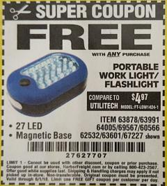 Harbor Freight Free Coupon 27 LED PORTABLE WORKLIGHT/FLASHLIGHT Lot No. 67227/69567/60566/62532 Valid: 1/16/18 -  6/1/18 - FWP