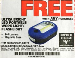 Harbor Freight FREE Coupon LED PORTABLE WORKLIGHT/FLASHLIGHT Lot No. 63878/63991/64005/69567/60566/63601/67227 Expired: 3/4/19 - FWP