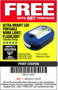 Harbor Freight FREE Coupon LED PORTABLE WORKLIGHT/FLASHLIGHT Lot No. 63878/63991/64005/69567/60566/63601/67227 Expired: 11/18/18 - FWP
