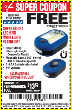 Harbor Freight FREE Coupon LED PORTABLE WORKLIGHT/FLASHLIGHT Lot No. 63878/63991/64005/69567/60566/63601/67227 Expired: 8/11/19 - FWP
