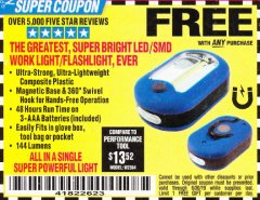 Harbor Freight FREE Coupon LED PORTABLE WORKLIGHT/FLASHLIGHT Lot No. 63878/63991/64005/69567/60566/63601/67227 Expired: 6/30/19 - FWP