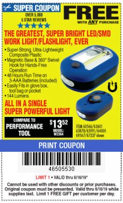 Harbor Freight FREE Coupon LED PORTABLE WORKLIGHT/FLASHLIGHT Lot No. 63878/63991/64005/69567/60566/63601/67227 Expired: 6/16/19 - FWP