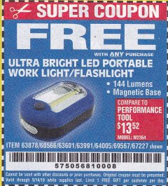 Harbor Freight FREE Coupon LED PORTABLE WORKLIGHT/FLASHLIGHT Lot No. 63878/63991/64005/69567/60566/63601/67227 Expired: 9/14/19 - FWP