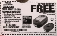 Harbor Freight FREE Coupon LED PORTABLE WORKLIGHT/FLASHLIGHT Lot No. 63878/63991/64005/69567/60566/63601/67227 Expired: 12/20/19 - FWP