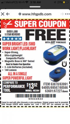 Harbor Freight FREE Coupon LED PORTABLE WORKLIGHT/FLASHLIGHT Lot No. 63878/63991/64005/69567/60566/63601/67227 Valid Thru: 6/30/20 - FWP