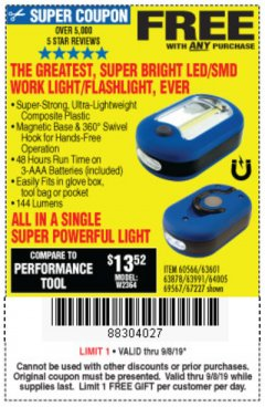 Harbor Freight FREE Coupon LED PORTABLE WORKLIGHT/FLASHLIGHT Lot No. 63878/63991/64005/69567/60566/63601/67227 Expired: 9/8/19 - FWP