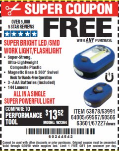 Harbor Freight FREE Coupon LED PORTABLE WORKLIGHT/FLASHLIGHT Lot No. 63878/63991/64005/69567/60566/63601/67227 Valid: 9/11/19 - 6/30/20 - FWP