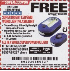 Harbor Freight FREE Coupon LED PORTABLE WORKLIGHT/FLASHLIGHT Lot No. 63878/63991/64005/69567/60566/63601/67227 Expired: 2/1/20 - FWP