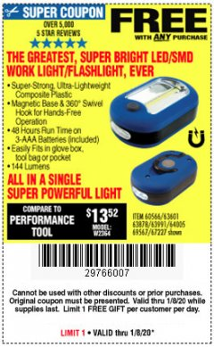 Harbor Freight FREE Coupon LED PORTABLE WORKLIGHT/FLASHLIGHT Lot No. 63878/63991/64005/69567/60566/63601/67227 Expired: 1/8/20 - FWP