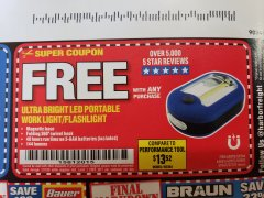 Harbor Freight FREE Coupon LED PORTABLE WORKLIGHT/FLASHLIGHT Lot No. 63878/63991/64005/69567/60566/63601/67227 Expired: 1/31/20 - FWP