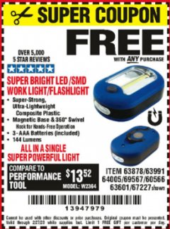 Harbor Freight FREE Coupon LED PORTABLE WORKLIGHT/FLASHLIGHT Lot No. 63878/63991/64005/69567/60566/63601/67227 Expired: 2/27/20 - FWP