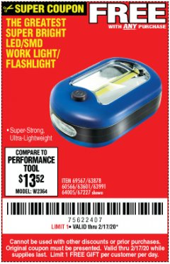 Harbor Freight FREE Coupon LED PORTABLE WORKLIGHT/FLASHLIGHT Lot No. 63878/63991/64005/69567/60566/63601/67227 Expired: 2/17/20 - FWP