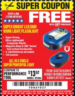 Harbor Freight FREE Coupon LED PORTABLE WORKLIGHT/FLASHLIGHT Lot No. 63878/63991/64005/69567/60566/63601/67227 Expired: 5/25/20 - FWP