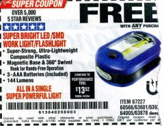 Harbor Freight FREE Coupon LED PORTABLE WORKLIGHT/FLASHLIGHT Lot No. 63878/63991/64005/69567/60566/63601/67227 Expired: 5/1/20 - FWP