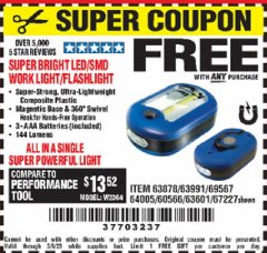 Harbor Freight FREE Coupon LED PORTABLE WORKLIGHT/FLASHLIGHT Lot No. 63878/63991/64005/69567/60566/63601/67227 Expired: 5/6/20 - FWP