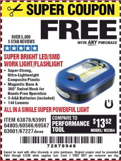 Harbor Freight FREE Coupon LED PORTABLE WORKLIGHT/FLASHLIGHT Lot No. 63878/63991/64005/69567/60566/63601/67227 Expired: 5/3/20 - FWP