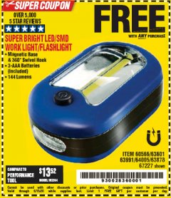 Harbor Freight FREE Coupon LED PORTABLE WORKLIGHT/FLASHLIGHT Lot No. 63878/63991/64005/69567/60566/63601/67227 Valid: 4/6/20 - 6/13/20 - FWP