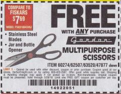 Harbor Freight FREE Coupon MULTIPURPOSE SCISSORS Lot No. 47877/67405/60274/62507 Valid Thru: 5/28/18 - FWP