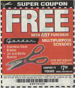 Harbor Freight FREE Coupon MULTIPURPOSE SCISSORS Lot No. 47877/67405/60274/62507 Expired: 8/29/18 - FWP