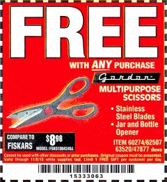 Harbor Freight FREE Coupon MULTIPURPOSE SCISSORS Lot No. 47877/67405/60274/62507 Expired: 11/8/18 - FWP