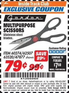 Harbor Freight ITC Coupon MULTIPURPOSE SCISSORS Lot No. 47877/67405/60274/62507 Expired: 6/30/18 - $0.79