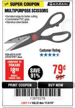 Harbor Freight Coupon MULTIPURPOSE SCISSORS Lot No. 47877/67405/60274/62507 Expired: 11/4/18 - $0.79