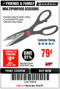 Harbor Freight Coupon MULTIPURPOSE SCISSORS Lot No. 47877/67405/60274/62507 Expired: 12/9/18 - $0.79