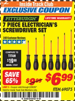 Harbor Freight ITC Coupon 7 PIECE ELECTRICIAN'S SCREWDRIVER SET Lot No. 69075 Valid: 2/1/20 - 2/29/20 - $6.99