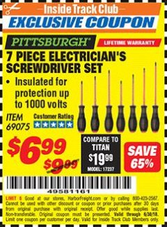 Harbor Freight ITC Coupon 7 PIECE ELECTRICIAN'S SCREWDRIVER SET Lot No. 69075 Expired: 6/30/18 - $6.99